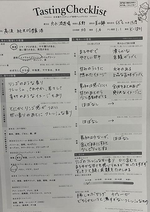 高波純米吟醸酒Tasting Checklist