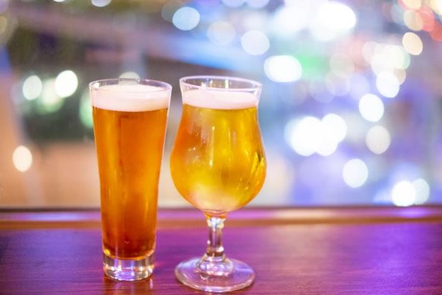 イルミネーションとビール