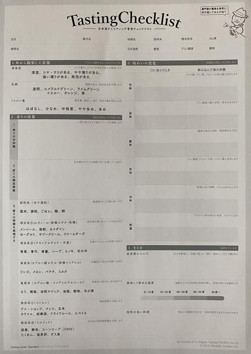 サケタクTasting Checklist